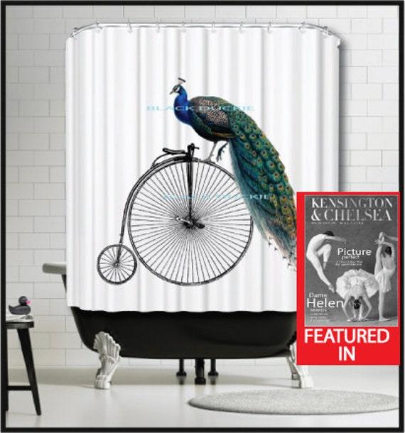Velo Peacock Rideau De Douche Rideau De Douche Velo Vintage Etsy