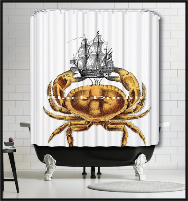 Crab Tall Ship Shower Curtain Gold Old