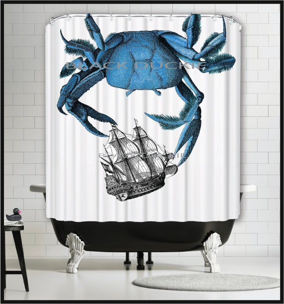 Blue Crab Shower Curtain Nautical