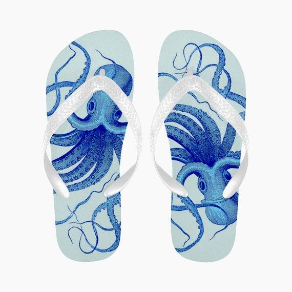 1ad8b0b3b5d4f2 Octopus Flip Flops Blue Kraken Flip Flops Summer Shoes