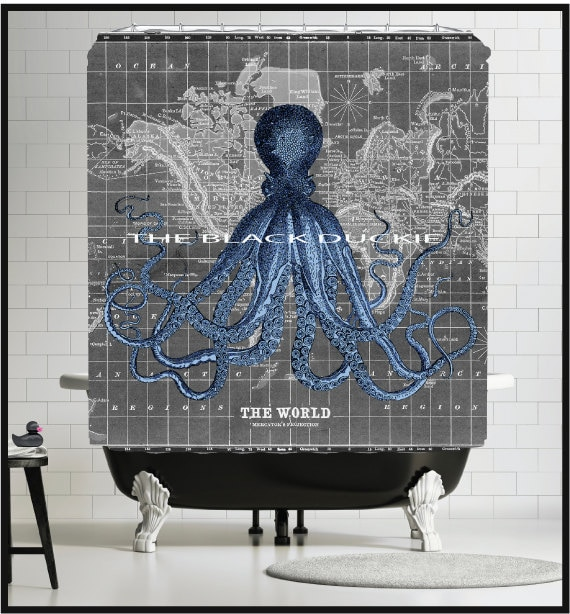 1800s Map Shower Curtain Black Gray Old World