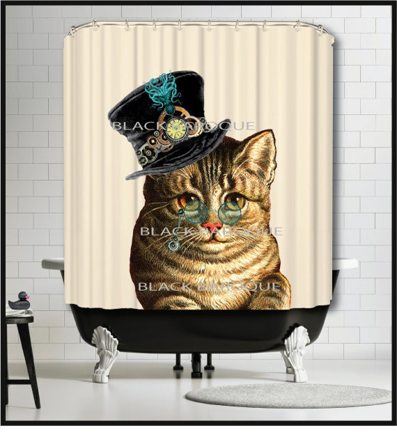 Steampunk Cat Shower Curtain - Kitty Cat Shower Curtain