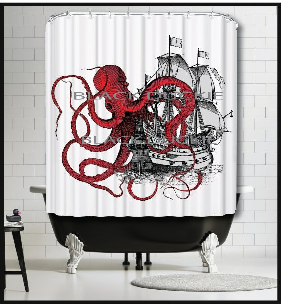 Red Octopus Playing With Galleon Ship Shower Curtain Kraken