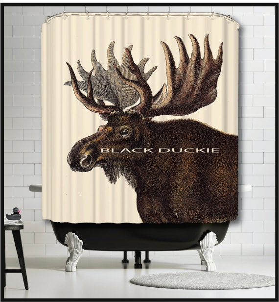 Moose Shower Curtain Cabin Curtains Northwoods