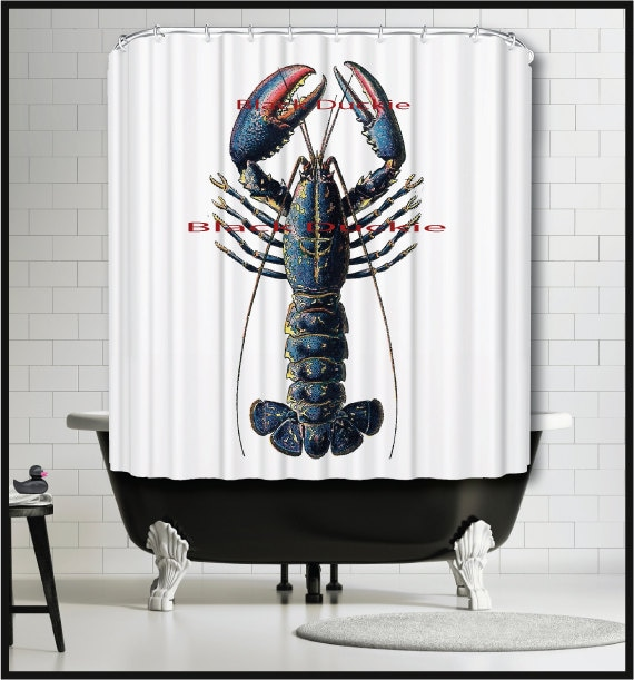 Nautical Shower Curtain Blue Lobster Navy