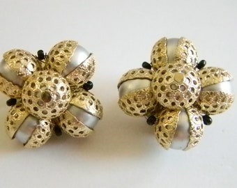 Vintage Silver Gold Cluster Clip On Earrings - Hong Kong