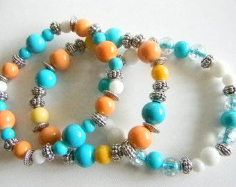 Silver Tone Turquoise Yellow White Orange Stretchy Bracelets Matching Pierced Earrrings