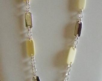 Liz Claiborne Silver Tone Chain Creamy Beaded Necklace
