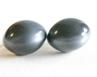 Vintage Oval Moonstone Look Screw Back Earrings