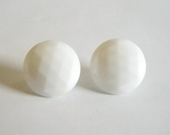 Vintage White Faceted Glass Button Style Pierced Earrings