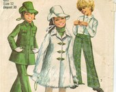 60s Mod Girls 39 Mini Coat, Bell Bottom Pants, Brimmed Hat Flared Pants, Front Yoke, Back Elastic Simplicity 8478 Size 12 Breast 30