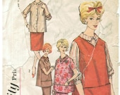 60s MaternityJerkin or Top, Blouse Slim Skirt with Inset Panel Overblouse, Tunic, Vest Simplicity 4164 Size 12 Bust 32