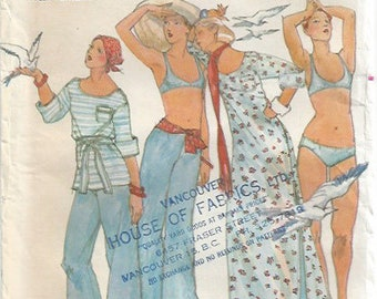 1970s Beachwear by John Kloss Coverup Low Cut Elastic Waist Pants Wide Leg Butterick 4248 Misses Size 10 Bust 32 1/2 Uncut