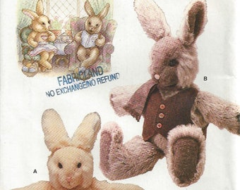 """1980s Boy & Girl Stuffed Rabbit with Clothes Vogue 635 7138 by Linda Carr 28"""" Uncut"""