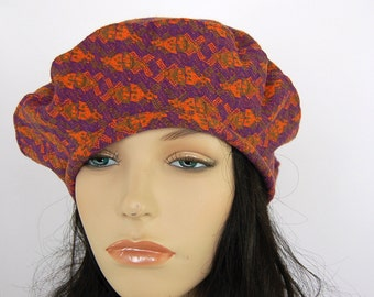 Funky Beret Orange Purple Slouch Hat Spring Women s French Beret Vintage  Cotton Knit Jersey Tam Unusual Chemo Hat Retro-Style c976b7eed036