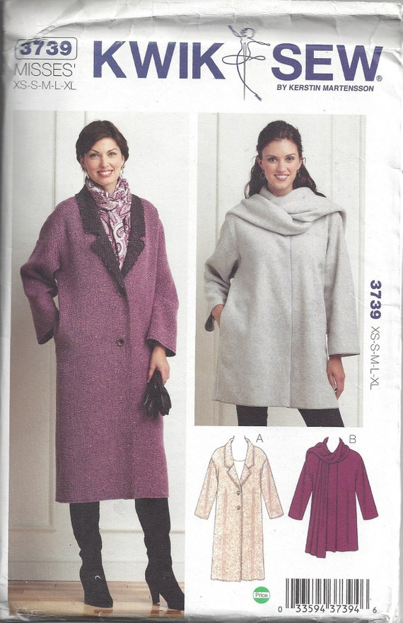 Kwik Sew Pattern 3739 Ms Coat in 2 Lengths w//Collar or Attached Shawl Opts XS-XL