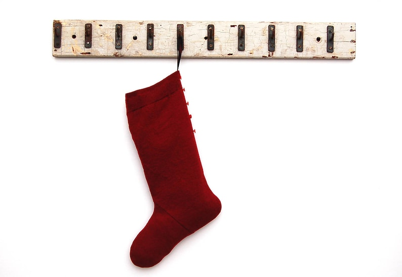 Dark Red Felted Wool Christmas Stocking Upcycled Sweater Simple Unusual Large Taffeta-Lined Button-Trimmed Cottage Decor Hipster Minimalist