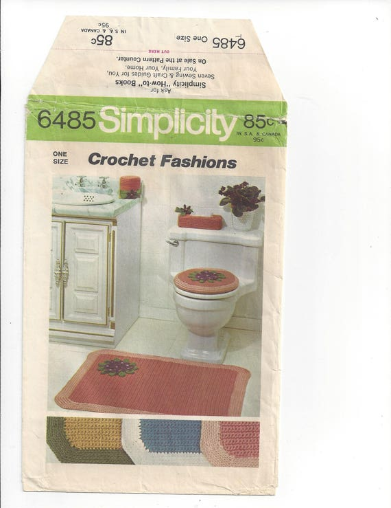 Awesome 70S Retro Crochet Bathroom Accessories Bathmat Rug Toilet Lid Cover Tissue Roll Cover Tissue Box Cover Pattern Instructions Simplicity 6485 Ocoug Best Dining Table And Chair Ideas Images Ocougorg