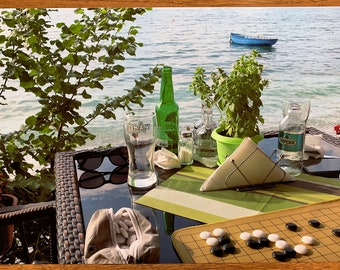 Go at Lake Ohrid, Macedonia #3, Trpejca - Photographic Art Print / Poster Baduk Weiqi Go Game in sizes A4, A3 and A3+ - Mind Sport in Nature