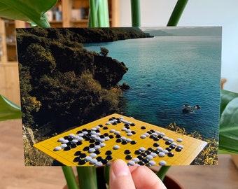 Go at Lake Ohrid, Macedonia #1 - Photograph Postcard Baduk Weiqi Go Game - Mind Sport in Beautiful Nature