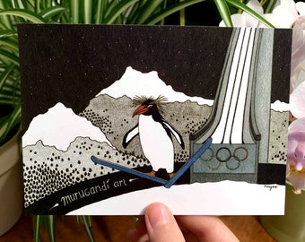 Ski Jumping by Night - Postcard of Hand Drawn Art - Macaroni Penguin Olympian on Skis in the Mountains, Funny Greeting Card