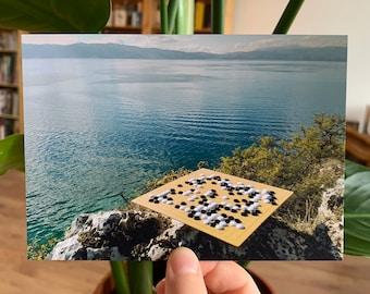 Go at Lake Ohrid, Macedonia #2 - Photograph Postcard Baduk Weiqi Go Game - Mind Sport in Beautiful Nature