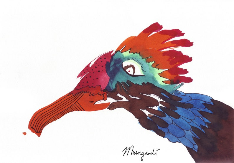 Postcard of Hand Drawn Art Colored Threskiornis Bright and Colorful Ibis Bird