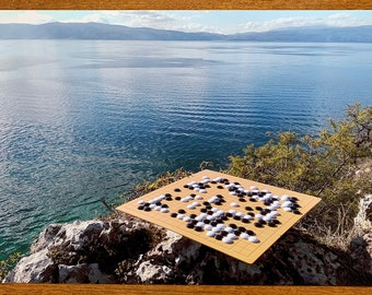 Go at Lake Ohrid, Macedonia #2 - Photographic Art Print / Poster Baduk Weiqi Go Game in sizes A4, A3 and A3+, Mind Sport in Beautiful Nature