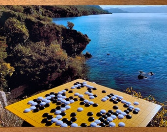 Go at Lake Ohrid, Macedonia #1 - Photographic Art Print / Poster Baduk Weiqi Go Game in sizes A4, A3 and A3+, Mind Sport in Beautiful Nature