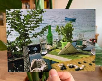 Go at Lake Ohrid, Macedonia #3, Trpejca - Photograph Postcard Baduk Weiqi Go Game - Mind Sport in Beautiful Nature