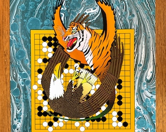 Fighting Spirit -  Art Print / Poster Baduk Weiqi Go Game in sizes A4, A3 and A3+, Giant Eagle versus Tiger-Serpent Dragon