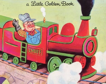 Little Golden Book 'Mr. Puffer-Bill Train Engineer' (Golden Press 1972) By Leone Arlandson; Pictures by Tibor Gergely