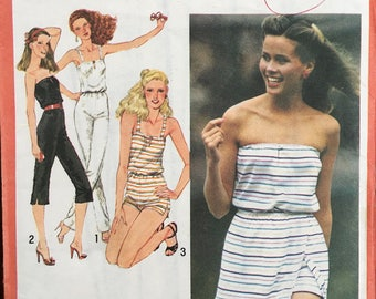 Simplicity 9433 Jumpsuit, playsuit, sun dress, stretch knit, Size 10, 12, 14.