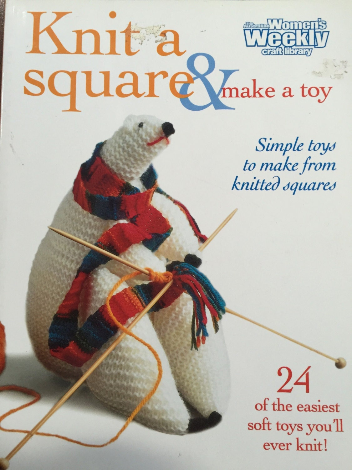 How To Make A Knitted Book Cover ~ Knit a square make a toy by norma campbell australian etsy