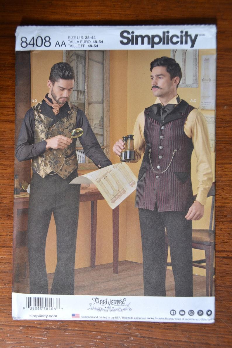 Men's Vintage Reproduction Sewing Patterns     Simplicity Pattern 8408 Shirt & Vests Adult Men Halloween Costumes cloak vest shirt by Buckaroo Bobbins Pattern Sizes 38-44 $15.16 AT vintagedancer.com