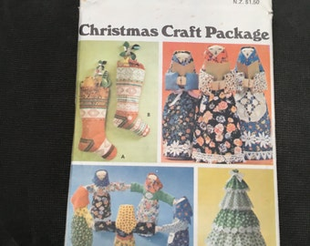 Vintage 1970s Sewing Pattern: 70s -Butterick 5709- Christmas Craft Package. christmas Doll, ChristmasTree, Christmas, stocking