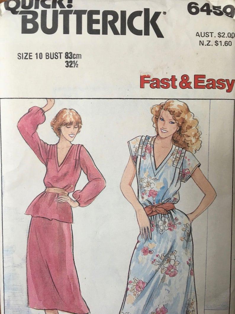 1903e674dc87e2 RARE Vintage 80s Butterick 6459 Top Skirt Dress Shoulder Pads | Etsy
