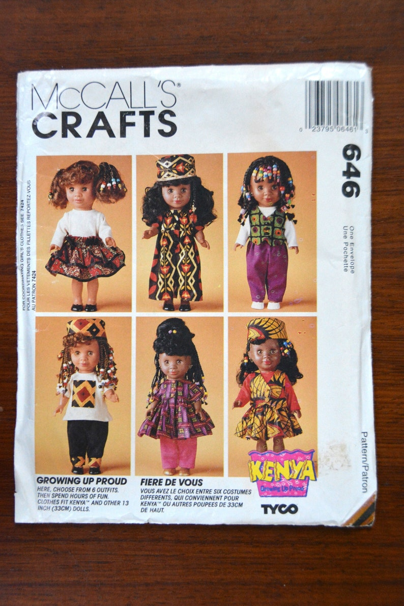 Pants McCall/'s 646 7395 Kenya Growing Up Proud 13 Doll Clothes Dolls Clothes Pattern Dress Top RARE Hat 13 Clothes Wardrobe Skirt