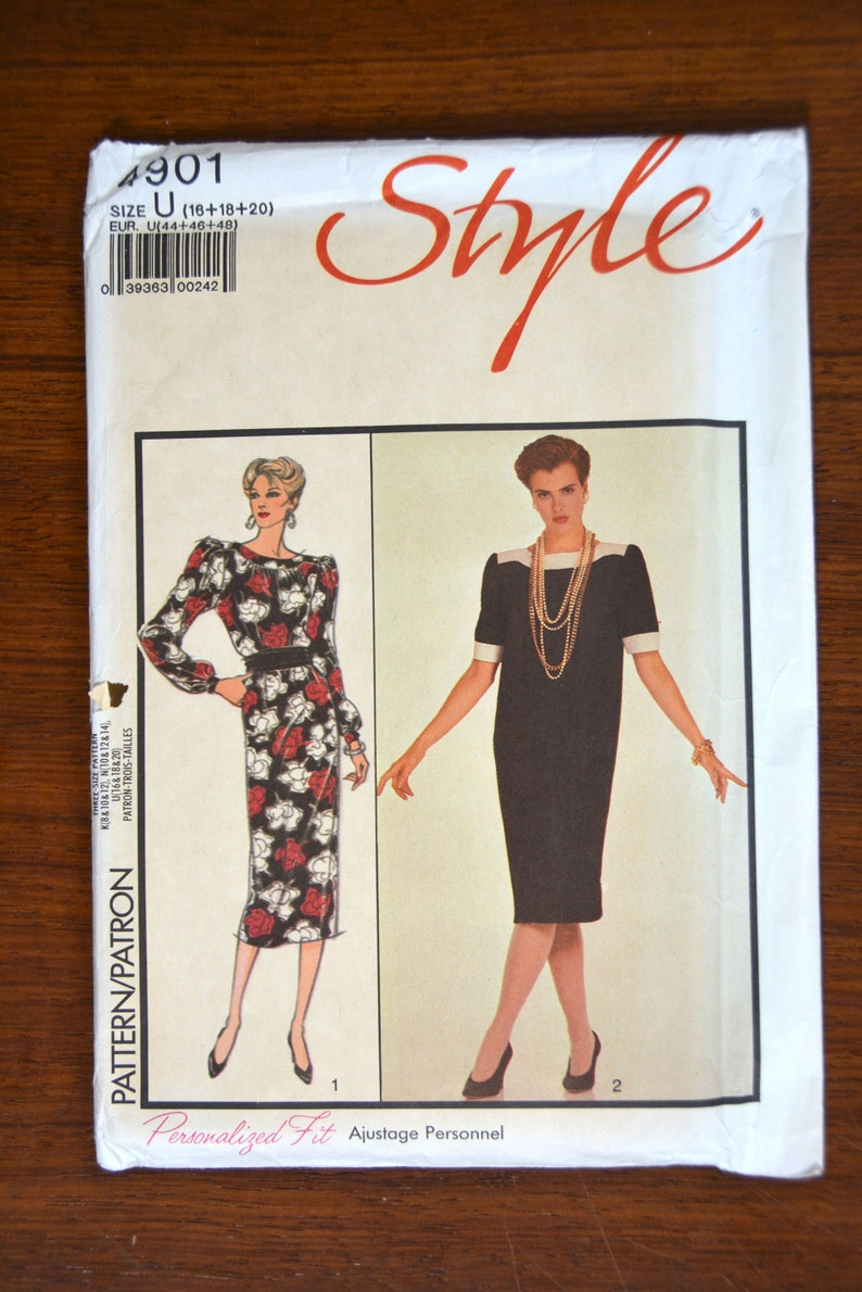 20 from 1986 Style Ladies dress Pattern 4901 Uncut 18 Sizes 16
