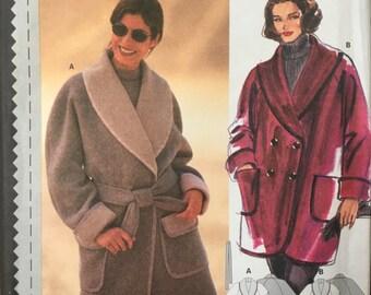 3080 BURDA Misses Shawl Collar Jacket Coat Double Breasted Belt Pattern UC 10-20