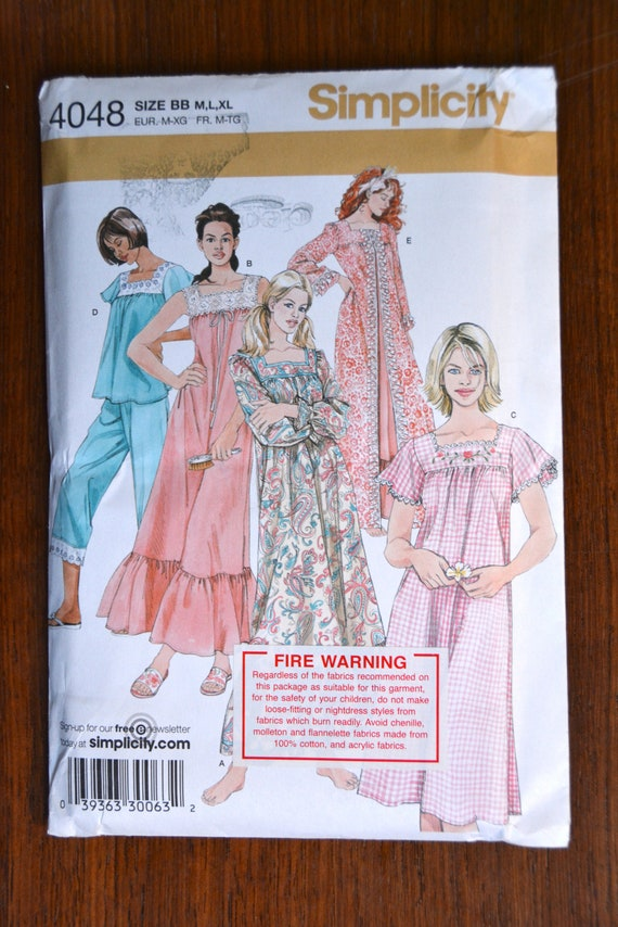 6067da4a74 Simplicity Sewing Pattern No. 4048 Nightgown Pajamas and