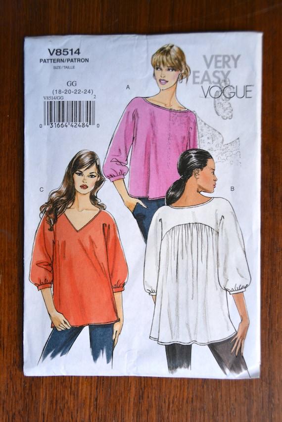 Sehr einfach Vogue Nähen Muster Nr. V8514 Top gesammelt | Etsy