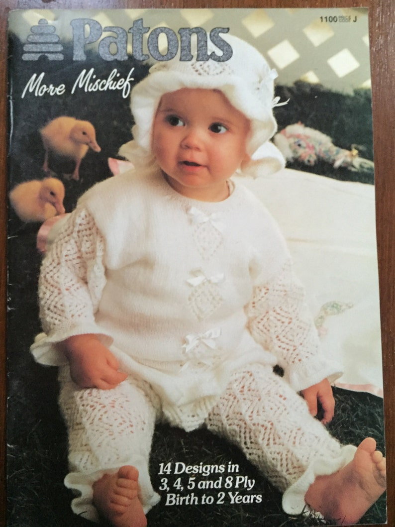Baby Knitting Pattern No 1100 More Mischief Patons Birth To 2 Etsy