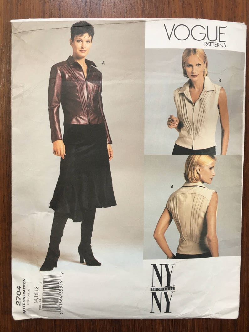VOGUE 2704 NY Collection Womens Casual Coordinates: Fitted Zip Jacket, Fit  & Flare Midi Bias Cut Skirt - UNCUT Size 14, 16, 18