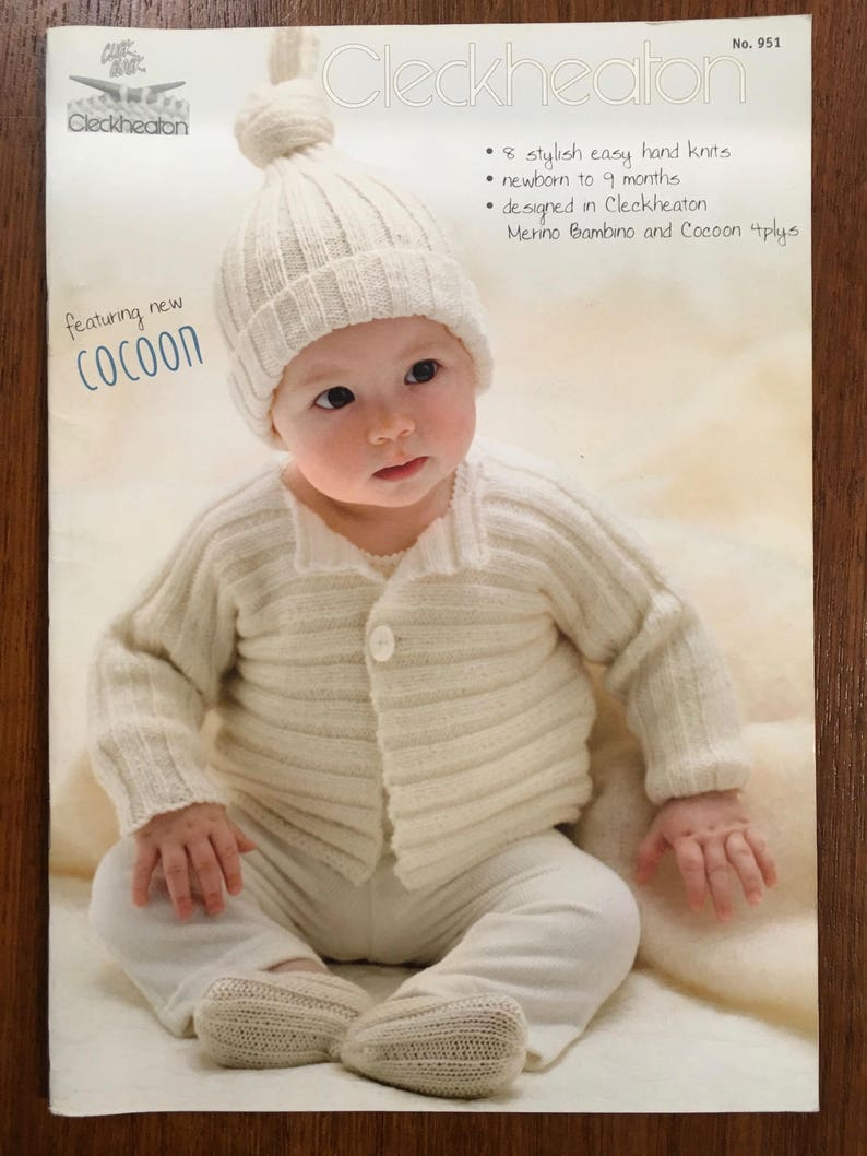9f3aad44cc3d Baby Knits Cleckheaton Book 951951 Knitting Patterns Outfits