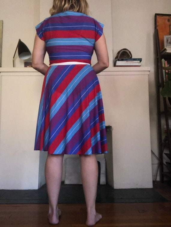 vintage ODD MOLLY raw edge pin striped military style strappy dress patterned satin lined ribbon  and pleat detail size 3=L US12 EU42