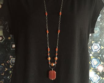 Carnelian and Silver Long Necklace