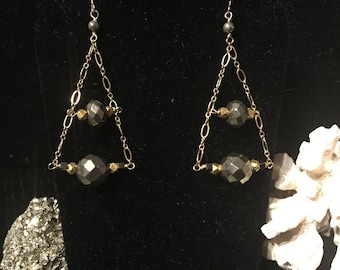 Pyrite and Gold Dangle Earrings