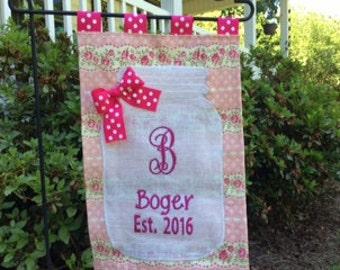 Shabby Chic Personalized Pink Rose Mason Jar Monogrammed Burlap Garden Spring Flag Door Hanger