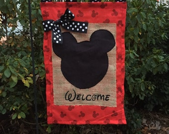 Mouse Head Embroidered Burlap Garden Flag Door Hanger